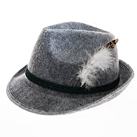 Grey Feathered Oktoberfest Hat from Century Novelty