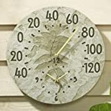 Whitehall Products Fossil Sumac Thermometer Clock, Moss Green