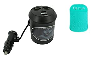 Fonus Brand Two USB DC Cup Holder Cigarette Lighter Socket Power Adapter Splitter Double Car Charger Center with Dual Charging and USB Ports for AT&T Blackberry Bold 9900 4G (4G Touch) (Package Includes a GREEN Non-slip car dash sticky mat)