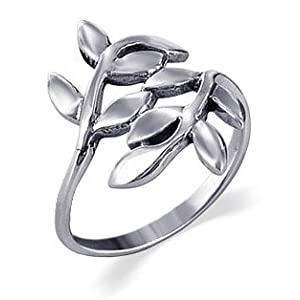 Sterling Silver 23mm Wide Cute Ivy Leaf Design Polished Finish 2mm Wide Band Ring Size 4, 5, 6, 7, 8, 9, 10