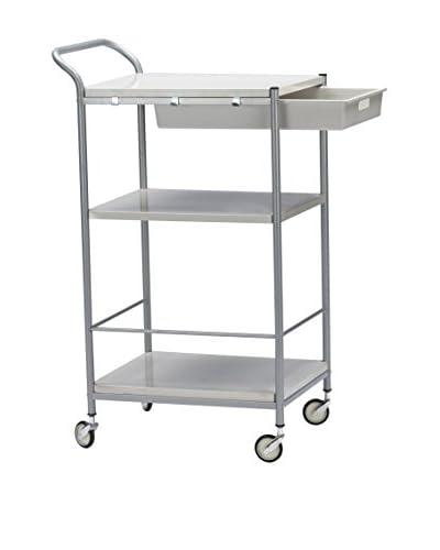 Baxton Studio Bisanti Chrome Steel Trolley Cart with Drawer, White/Chrome