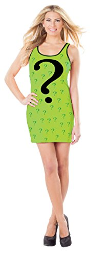 The Riddler Womens Tank Dress Costume Batman Villain Green Tunic Top Sexy