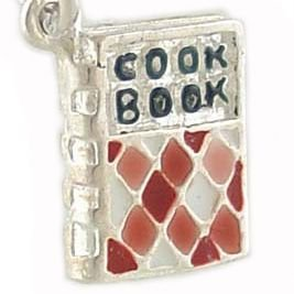 3D Cookbook Vintage Style 925 Sterling Silver and Enamel Traditional Charm or Pendant