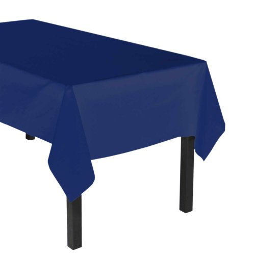 "Party Essentials Heavy Duty Plastic Table Cover, 54 x 108"", Navy Blue"
