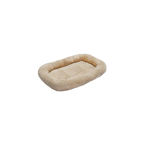 ALEKO® PB16S 17X12 Inch Padded Bolster Pet Bed Plush Cushion Mat for Dogs and Cats, Beige Color