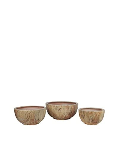 Privilege Set of 3 Marble-Finish Bowls, Taupe