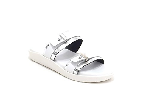 Soldini donna, modello 9434, sandalo in pelle , colore bianco e argento