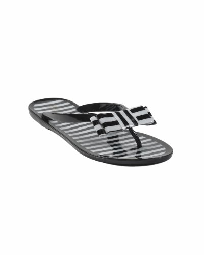 Striped Flipflop Sandal with Shiny Striped Bow by Spiegel