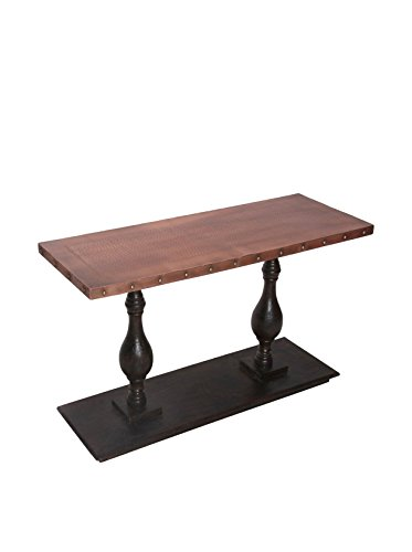 Coast To Coast Imports Oak And Copper Console Table