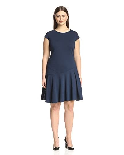 Sharagano Plus Women's Cap Sleeve A Line Dress