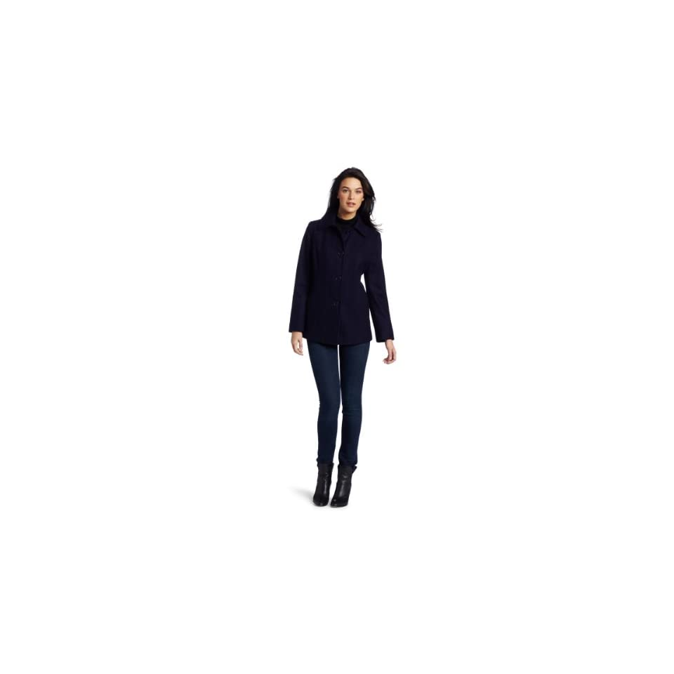 Ak Anne Klein Womens Single Breasted Wool Coat, Purple, Medium