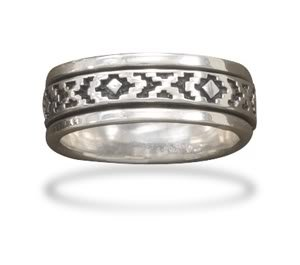 Sterling Silver Oxidized Spin Ring with Santa Fe Design / Size 12