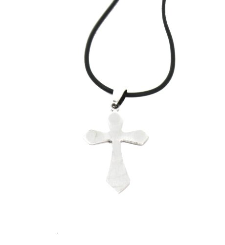 Masculine Men/Boys Brushed Metal Cross Pendant Necklace Black Cord Smaller Point
