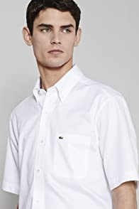 City Short Sleeve Mini Pique Button Down Collar Woven Shirt