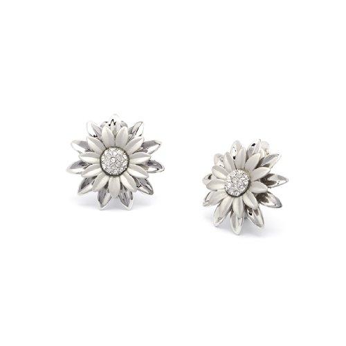 Rodney Holman Double Layer Flower Clip On Earrings - Silver