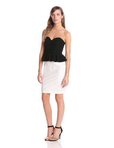 Jill Jill Stuart Women's Strapless 2 Tone Peplum Dress, Black/Off-White, 4