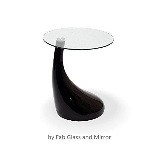 Fab Glass and Mirror Teardrop Side Table, Black (Black Small Coffee Table compare prices)