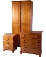 Wardrobe, Bedside Table, Chest - Trio Set