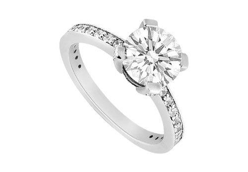 14K White Gold Semi Mount Engagement Ring 0.50 Carat Diamonds Without Center Diamond