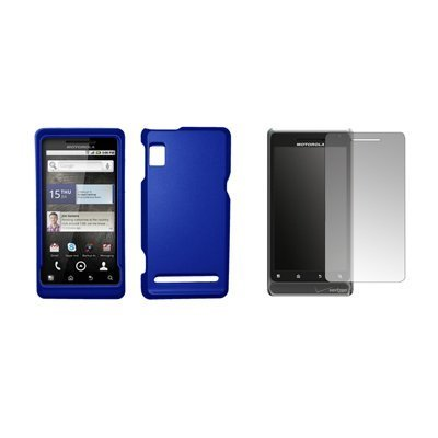 Motorola Droid 2 A955 - Premium Blue Rubberized Snap-On Cover Hard Case Cell Phone Protector + Crystal Clear Screen Protector for Motorola Droid 2 A955