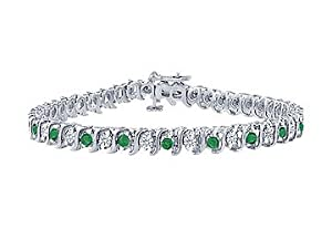 Emerald and Diamond Tennis Bracelet : Platinum - 3.00 CT TGW