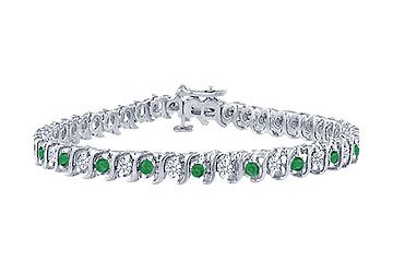Emerald and Diamond Tennis Bracelet Platinum - 5.00 CT TGW