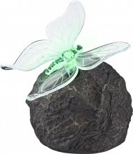 Globo-LED-Colourchange-Outdoor-Solar-Rock-Lamp-with-Butterfly-Lamp-Multi-Colour