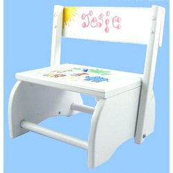 Personalized Jungle Flip Stool - Color: White from Ababy
