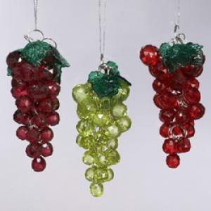 Kurt Adler Beaded Grapes Christmas Ornament Set