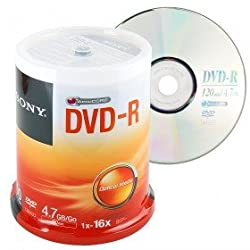 Sony DVD-R Media 100 Packs