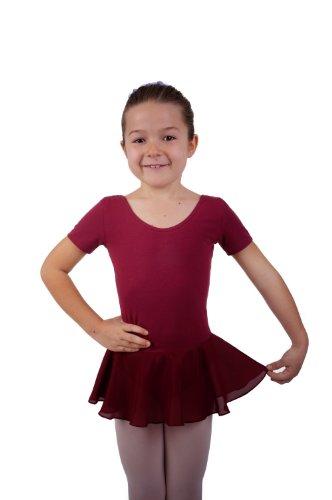 Kinder Ballettanzug, Baumwolle, mit Chiffonröckchen (Made in Germany)