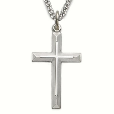 Sterling Silver Cross Necklace in a Bevelled