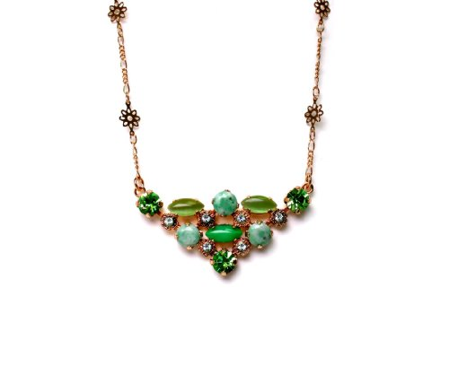 24K Rose Gold Plated Astonishing Necklace from 'Green Serenity' 2013 Collection Created by Amaro Jewelry Studio with Fancy Elements, Marquise Cut Green Aventurine, Variscite, Lime Chrysophase, Yellow Turquoise, Olive Jade and Swarovski Crystals