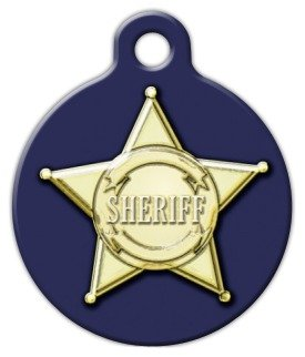 Sheriff Badge Graphic – Custom Pet ID Tag for Dogs and Cats – Dog Tag Art – SMALL SIZE