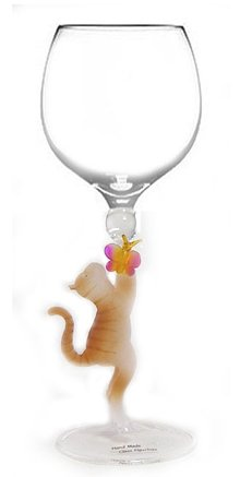 Cat with Butterfly Hand Blown Wine Glass from Yurana Designs - W199