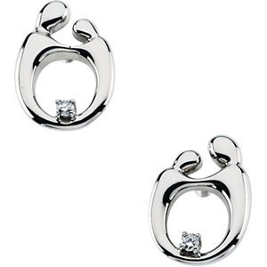 Genuine IceCarats Designer Jewelry Gift 14K White Gold Mother &Child Dia Post Earring. 13.50X09.75 Mm Right Mother &Child Dia Post Earrings In 14K White Gold