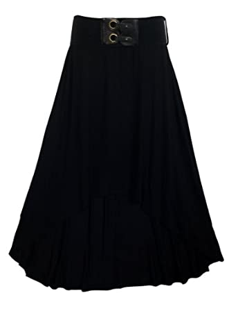 eVogues Plus size High Low Skirt with Elastic Belt Black - 1X