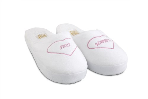 Cheap Weddings are Fun Saugus Shoe – Women's Just Married Bride White Slippers Size: Small (5 – 6 1/2) (B008CFZ0BY)
