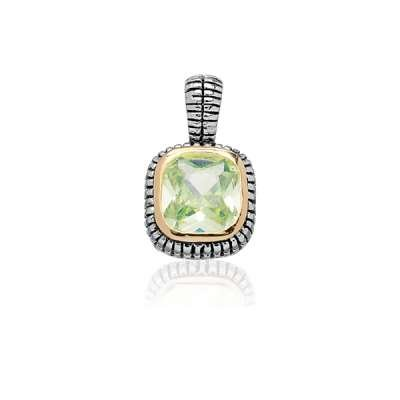 Fashion Necklace Pendant Jewelry Sterling Silver Plated Square Peridot CZ w/ Surrounding GP Line and Black Finish Design(WoW !With Purchase Over $50 Receive A Marcrame Bracelet Free)