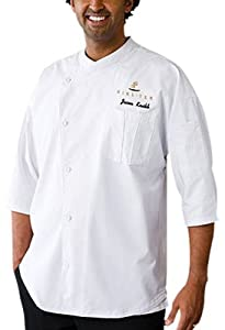Chef Works SI34-WWT Positano Signature Series 3/4 Sleeve Coat, White with White Piping, XS