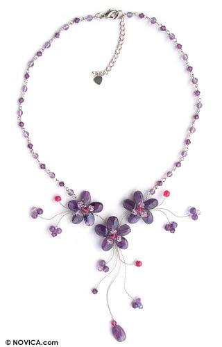 Purple Amethyst Floral Choker Necklace, 'Floral Cascade' 4.3