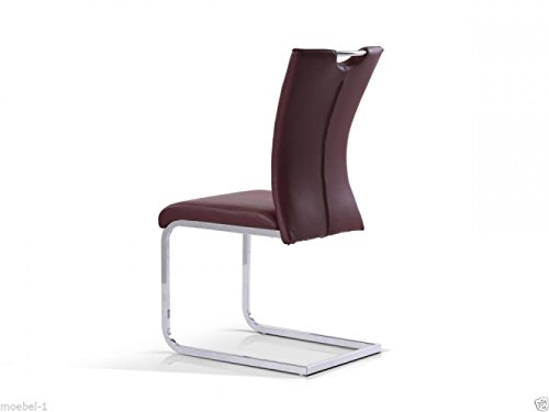 ZEARO Schwingstuhl Freischwinger Stuhl Esszimmerstuhl mit Leder Aussehen