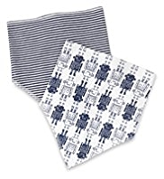 2 Pack Pure Cotton Robot Dribble Bibs