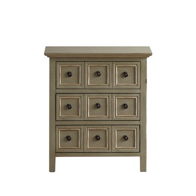 Contemporary Style Chester 3 - Drawer Chest / Dresser Comes in Cadet Grey Finish