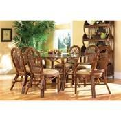 Boca Rattan Antigua Oval Dining Table in Royal Oak with Glass Top 31010ANT