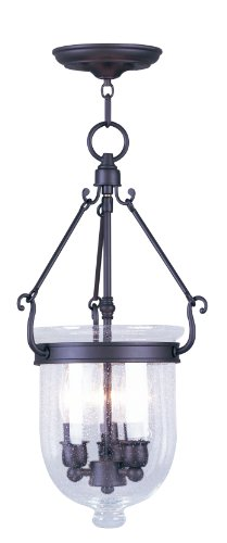 Livex Lighting 5083-07 Jefferson 3 Light Bronze Bell Jar Chain Hung  with Seeded Glass