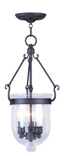 Livex Lighting 5083-07 Jefferson 3 Light Bronze Bell Jar Chain Hung  with Seeded Glass