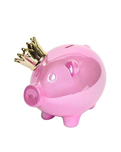 Interior Illusions Piggy Bank with Gold Crown, Pink