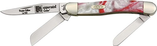 Case Cutlery 9318Pm Case Peppermint Corelon Medium Stockman Pocket Knife With Stainless Steel Blades, Red And White Mixed Corelon