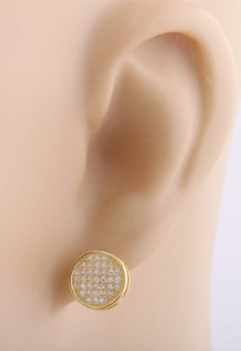 Mens Pair Of 925 Sterling Silver Macro Pave Iced Out Gold Circle Shaped Stud Earrings